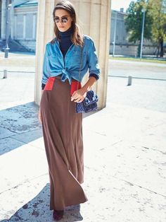 Maxi Skirt with Yokes - it'd be pretty to make the skirt in a solid color with a small pattern on the yokes