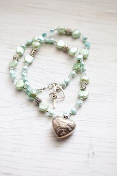 Mint green & light blue Freshwater Pearl by WhiteLilyDesign, $30.00