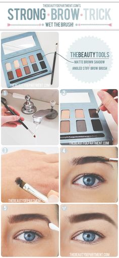 wet the brush before dipping it in powder to fill your brows - a neat bold brow trick