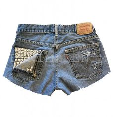 Studded Vintage High Waisted Jean Shorts Destroyed Ripped Women Studs Pocket High Waisted Low Rise Grunge Shredded Boho Levi Wrangler Gap