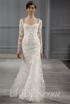 """Brides.com: Monique Lhuillier - Spring 2014. """"Leaticia"""" ivy embroidered long sleeved seamed sheath with open back, Monique Lhuillier"""
