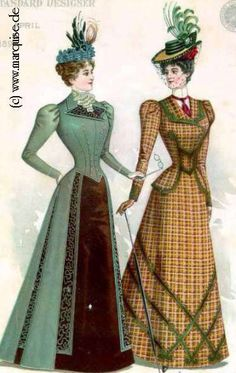 Walking Dresses, 1898- is this the going out dress just to walk?? I would hate to get all dolled up like this just to go out in walk