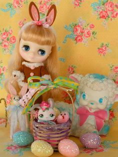 Vintage Easter Basket with Cute Bunny Toy...ooak