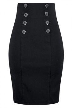 Women's High Waisted Pin Me Up Pencil Skirt