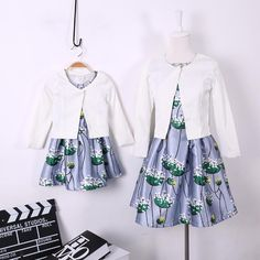 2016 summer family clothing European style Costumes family dresses fashion flower printing daughter dresses and mum dresses