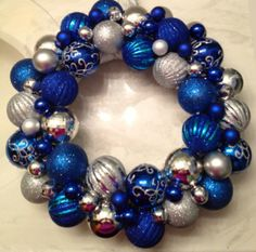 Blue & Silver Ornaments Wreath #Bloom #Holiday