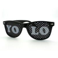 Black YOLO Wayfarer Sunglasses, White Letters