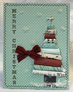 Christmas Card - I love the depth the rolled scrap paper tree adds to the card. Homemade Christmas Cards, Christmas Tree Cards, Holiday Tree, Xmas Cards, Handmade Christmas, Homemade Cards, Holiday Cards, Christmas Crafts, Teal Christmas