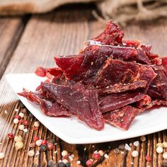 BBQ Style Beef Jerky, because every man needs their own beef jerky recipe. Step by step guide to making beef jerky in a dehydrator, plus a giveaway! Low Sodium Beef Jerky Recipe, Paleo Beef Jerky, Making Beef Jerky, Best Beef Jerky, Venison Jerky, Bbq Beef, Teriyaki Beef, Gluten Free Jerky Recipe, Brisket