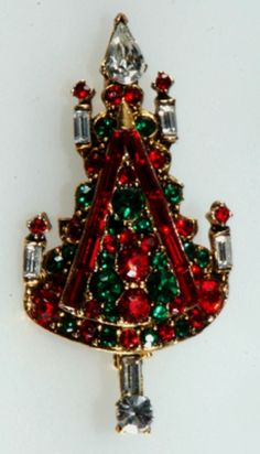 Pell Rhinestone Christmas Tree Pin - Price Guide and Values for Vintage and Collectible Christmas Jewelry Including Christmas Tree Pins Old Christmas, Vintage Christmas Ornaments, All Things Christmas, Christmas Holidays, Christmas Bulbs, Christmas Decorations, Christmas Glitter, Christmas Nativity, Primitive Christmas