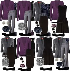 Teacher Outfits on a Teacher's Budget: Mix and Match-- Good Idea to find bas. Teacher Outfits on a Teacher's Budget: Mix and Match-- Good Idea to find basics like this. Mode Outfits, Casual Outfits, Fashion Outfits, Womens Fashion, Office Outfits, Purple Outfits, Purple Cardigan Outfits, Turquoise Cardigan, Fashion Ideas