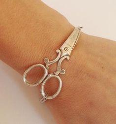 Steampunk Scissor Bracelet Antique Silver Ox by bellamantra
