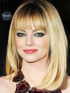 Emma Stone - long blonde layered bob with bangs / fringe