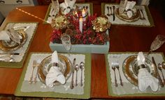 I love setting a pretty table for the holidays.  I have the set of dishes for years