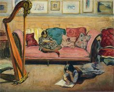 Interior with Harp. Henri Lebasque (French, 1865-1937). Oil on canvas. The harp sits ready to play but the girls are more interested in their reading. The multi-coloured pillows of various sizes on the pink divan and the group of small paintings lining the wall give the scene intimacy and comfort. The girls read in peace, not constrained in any way.