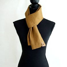 Mustard Linen Scarf for Men by AJatelier on Etsy