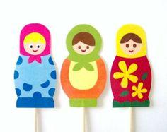 Matryoshka Cupcake Toppers - Set of 10 Picks