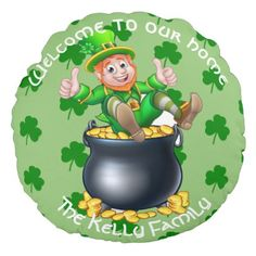 Personalized Lucky Leprechaun Our Home Round Pillow - st patricks day gifts Saint Patrick's Day Saint Patrick Ireland irish holiday party