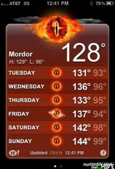 One does not simply walk into Mordor.... Without checking the forecast!