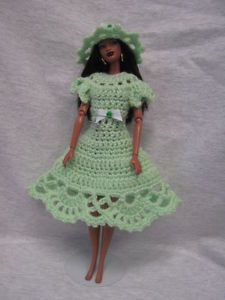 Barbie Doll Pastel Green Dress Hat with Bows Handmade Crocheted Outfit | eBay