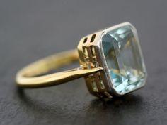 Art Deco Aquamarine Ring Antique Art Deco by AlistirWoodTait