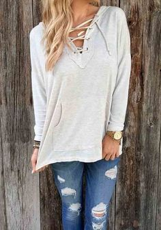 cc4727c38b ZNU Grey Loose Casual Hooded Lace-Up Sweatshirt. Starting at  7 Sweater  Hoodie