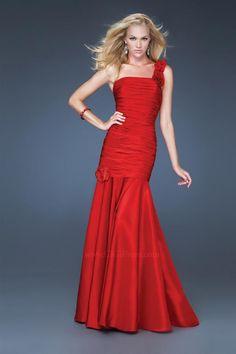 Mermaid Dress Dropped Waist Straight Neckline One-Shoulder Strap Floor Length Zipper Taffeta prom dress