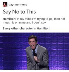 "I need someone to put John Mulaney's ""NO"" over the ensembles so bad"