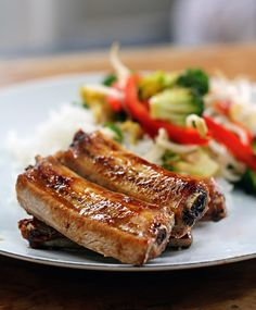 """These oven-baked asian BBQ riblets are healthier than normal ribs, and perfect for a midweek meal. Have in on the table in 30mins! .... A great recipe via this blog, """"Emily Loves Food""""."""