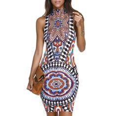 Mock Neck Floral Print Stylish Women's Bodycon Dress, COLORMIX, XL in Bodycon Dresses | DressLily.com