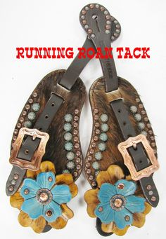 Dark Brindle Cowhide Spur Straps with Hand Dyed Leather Flowers and Swarovski Crystals by Running Roan Tack