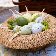 Easter Bonnet  Improvise a pretty Easter basket using a sweet straw hat. Fill it with softly colored eggs, either real or artificial. Hollowed eggs like ours can also be stuffed with paper ribbons that include spring wishes, egg hunting clues, or even names for place cards.
