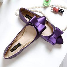 zapatos planos de dulce arco femeninos de nueva Cheap púrpura de zapatos Envío la boca punta qFnz84