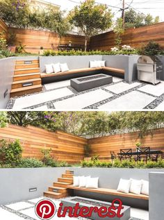 On the lower level of this modern backyard, there's custom-colored concrete walls with a built-in wood bench that fits into the corner and sits beside the firepit. On the ground, pavers are surrounded by riverstone, while wood stairs lead to the up