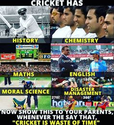 Cricket has a part of education too - Funny Sports - - Cricket has a part of education too The post Cricket has a part of education too appeared first on Gag Dad. Cricket Quotes, Cricket Tips, Cricket Score, Cricket Match, Soccer Memes, Sports Memes, Funny Sports, Funny Facts, Funny Quotes