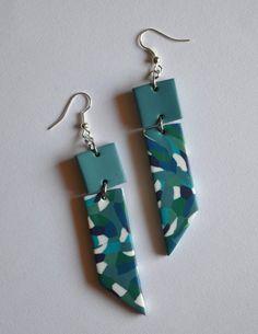 Long geometric earrings Turquoise blue green handmade jewelry