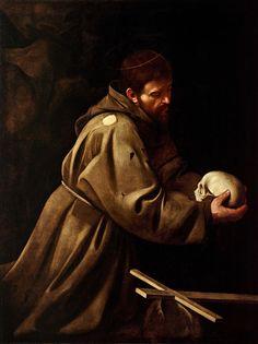 Saint François en méditation, par Caravaggio (~1606)