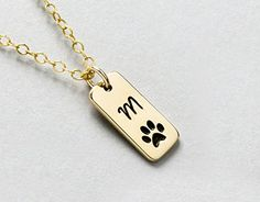 Handmade Jewelry Personalized Dog Paw Print Initial Necklace or Loss of Pet Memorial Gift * Click on the image for additional details.