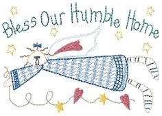 Bless our Humble Home Sampler   Primitive   Machine Embroidery Designs   SWAKembroidery.com HeartStrings Embroidery