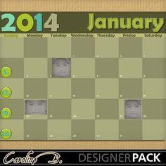Digital Scrapbooking Kits   2014 January Brown 8x11-(carolnb)   Birthdays, Calendars, Craftable - Printables, Everyday, Holidays - New Years   MyMemories