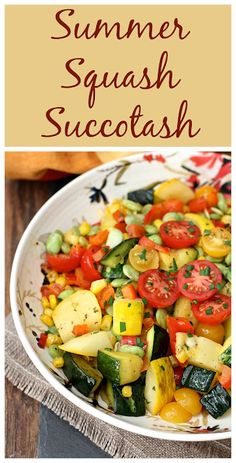This classic Southern veggie dish is updated with the wonderful flavors of summer squash and fresh tomatoes. Summer Squash Salad, Summer Squash Recipes, Summer Recipes, Bean Recipes, Side Dish Recipes, Vegetable Recipes, Side Dishes, Cooking Recipes, Recipes