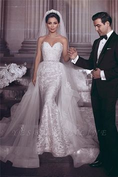 2019 New Sweetheart Lace Mermaid Wedding Dresses Appliqued Tulle Backless Plus Size Wedding Bridal Gowns robe de mari e How To Dress For A Wedding, Wedding Dresses Plus Size, New Wedding Dresses, Plus Size Wedding, Cheap Wedding Dress, Bridal Dresses, Bridesmaid Dresses, Dresses Uk, Dresses Online
