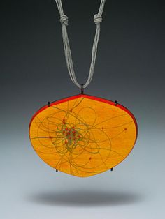 Julia V. Turner:  Orange Routes Pendant,  wood, vitreous enamel, steel, string