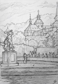 Quick Sketch. 'Waldstein Gardens, Prague.' View past Hercules statue. The pond is full of large Koi carp. davidasutton.com @davidasutton #drawing #sketch #czech #prague #europe