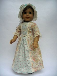 Colonial Style Dress and Round Eared Cap for by MyAngieGirl