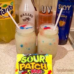 SOUR LIGHTNING  3 oz. (90ml) Malibu Rum  3 oz. (90ml) UV Lemonade Vodka 3 oz. (90ml) Pineapple Sky Vodka  1/2 Cup of Pineapple Fanta  Ice  Sour Patches  Blend All