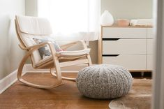 How to buy nursery rocking chair: nursery rocking chair ikea poang rocking chair for gray and white nursery NSCGBLR Ikea Nursery, White Nursery, Nursery Furniture, Nursery Room, Baby Room, Ikea Furniture, Girl Nursery, Nursery Chairs, Nursery Fabric