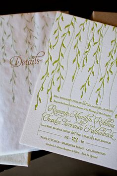 Grass Green Letterpress Invitation... like the font and the engraved letters, everything else is not my style