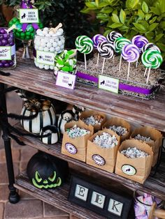 Set up an outdoor candy bar displaying your treats like a candy shop.