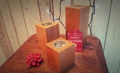 Beautifully crafted Solid Oak Rectangular Tea Light Holders from Bramble Signs